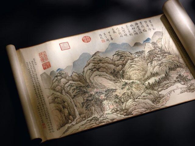Parchemin « Ten Auspicious Landscapes of Tashai, image ©Sotheby's