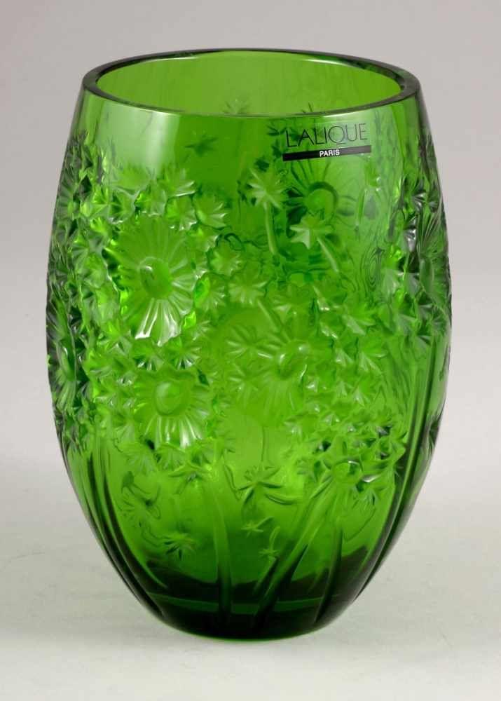 LALIQUE - Vase Bucolique, grünes Glas