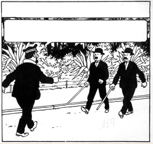 """Tintin, case n°2 à l'encre de Chine et à la gouache blanche du strip n°2 de la planche n°23 de l'épisode """"Le Temple du soleil"""" (version journal Tintin) Publiée dans le journal Tintin n°9 du 27 février 1947 Banque Dessinée"""