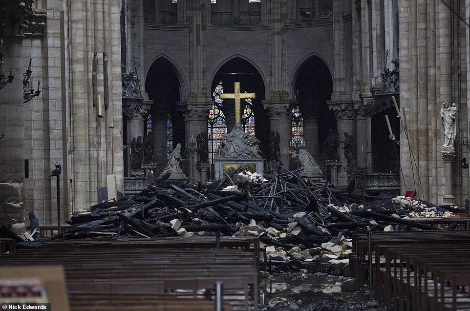 The interior of Notre-Dame after the fire on April 16. Image: Christophe Morin | Bloomberg | Getty Images
