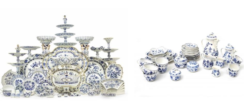 Links: MEISSEN - Ess- und Dessert-Service mit blauem Zwiebelmuster, 20. Jh. Christie's Rechts: MEISSEN - Kaffee- und Mocca-Service mit blauem Zwiebelmuster, 20. Jh. Eppli
