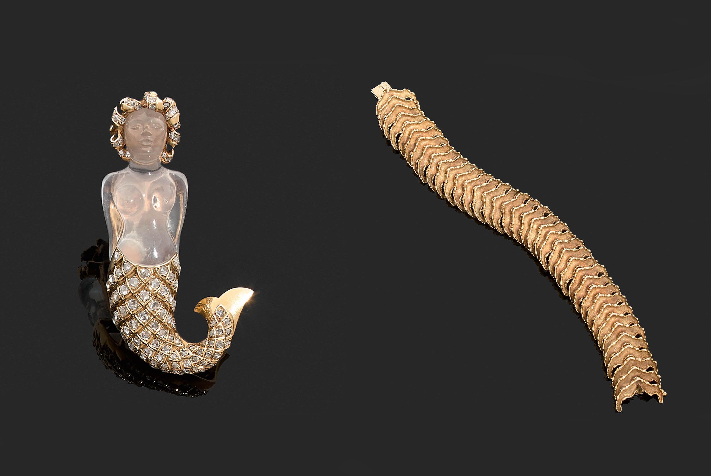 René Boivin, clip sirène en crystal et diamants, bracelet articulé, images ©Tajan