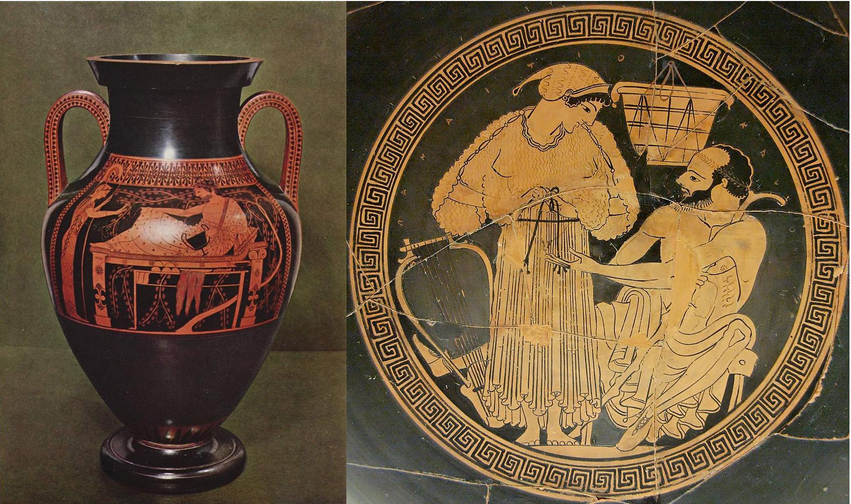 Vänster: Vas från antikens Grekland föreställande Athena och Herakles, cirka 500 f Kr. Höger: Keramikplatta av Euphronios, omkring 500 f. Kr. Foton via Wikipedia.