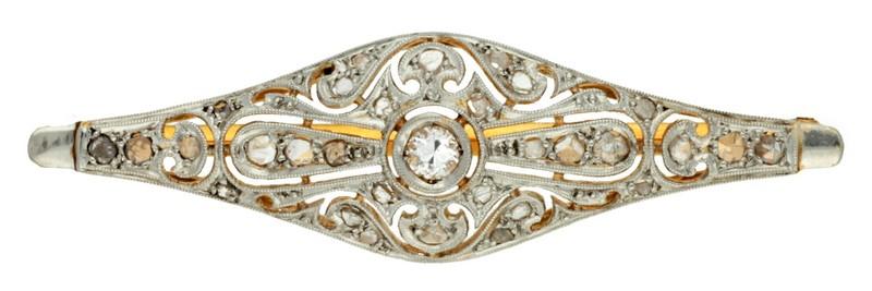 Horquilla Belle Époque en oro con diamantes (hacia 1910)