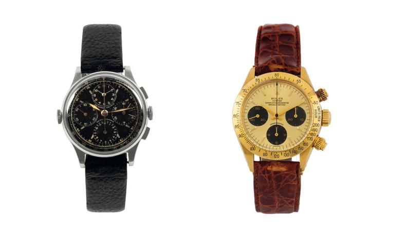 Gauche : Rolex Oyster Perpetual, Daytona, référence 16523 / Droite : Universal Genève, Compax, référence 885103/02, images ©Cambi