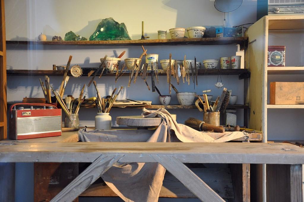 Detail der nachgebauten Werkstatt | Foto via wikipedia.org