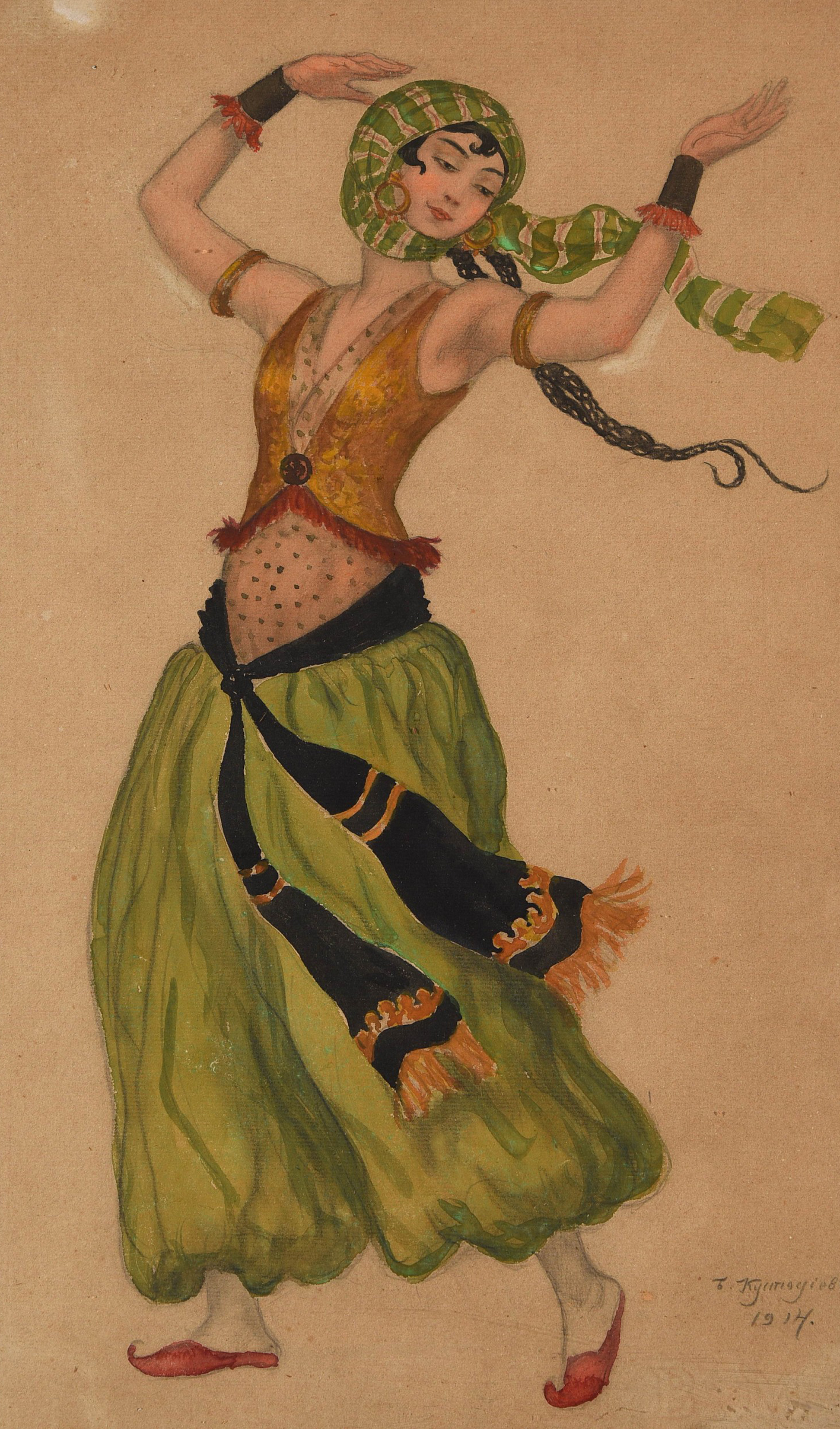 Boris Mikhailovich Kustodiev, Costume Design, probably for the character of Salome in 'The tragedy of Salome', 1914, Photo: © HVMC