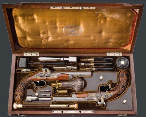 Paire de pistolets à percussion, Anton Vincent Lebeda, Prague, vers 1850 Estimation: 28.000 EUR