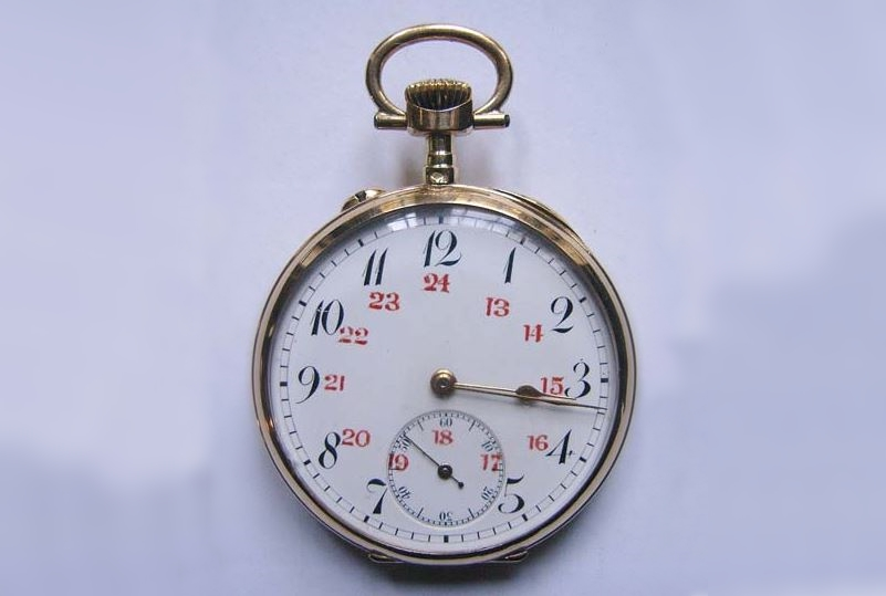Reloj de bolsillo francés tipo lepine en oro amarillo con tapa exterior decorada