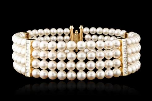 Bracelet or jaune, perles et diamants