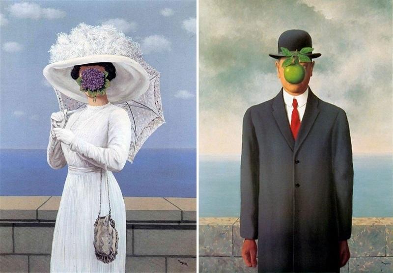 « La grande guerre » (1964) et « Le Fils de l'homme » (1964) par René Magritte, images via- Gary Blonder