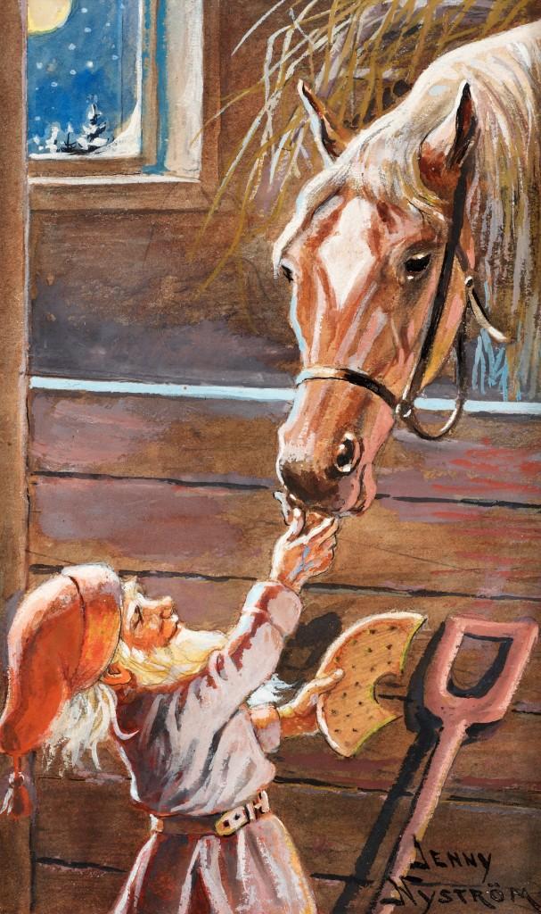 Jenny Nyström, Tomte matar häst i stall, utförd cirka 1945. Såldes hos Bukowskis 2010 för 55 000 kronor. Bild från Bukowskis.