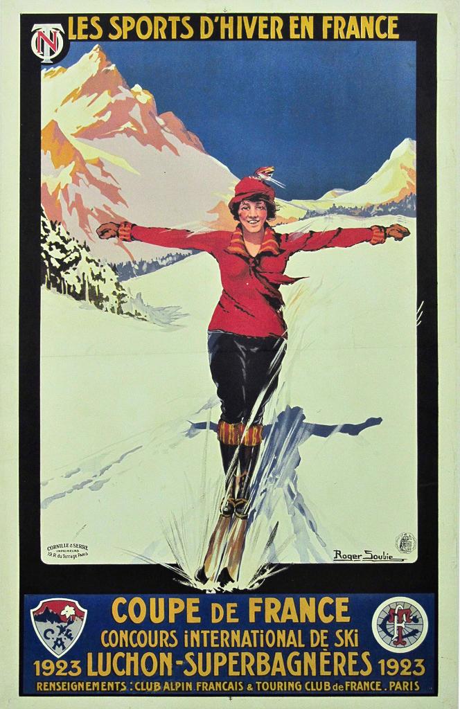 ROGER SOUBIE  Sports d'Hiver en France - Coupe de France. Concours International de Ski 1923 - Luchon-Superbagnères Original Poster Barcelona