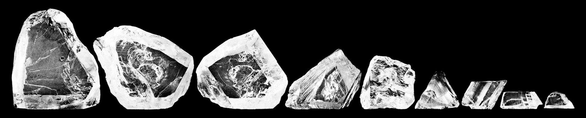 De nio största diamanterna från The Cullinan innan de slipades. Bild Wiki Commons.
