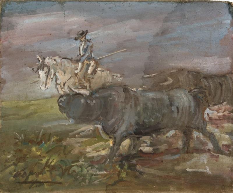 """Óleo sobre cartón. """"Rejoneador con toros"""" (siglo XX)"""