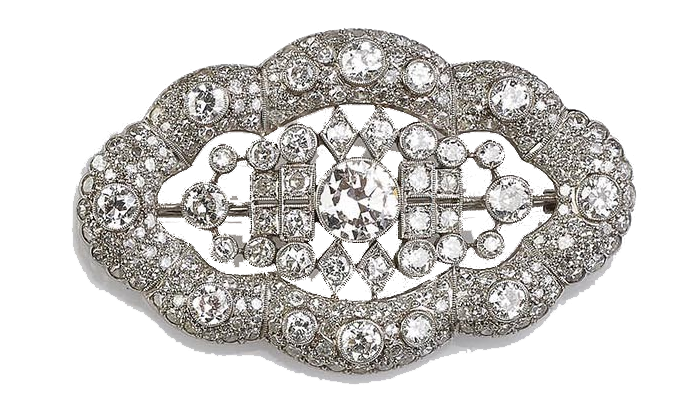 Broche diamants Art Nouveau Estimation basse: 3 600 €