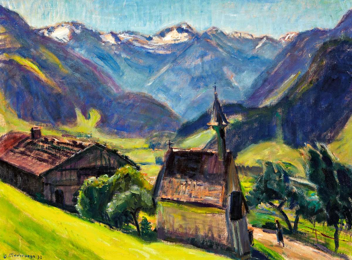 OTTO MODERSOHN (1865 Soest - 1943 Rotenburg) Gailenberg bei Hindelang, Öl/Lwd., signiert und datiert, 1932