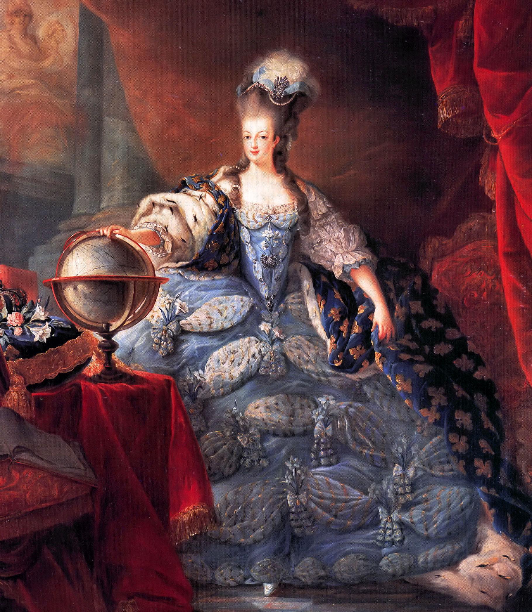 Die junge Königin Marie Antoinette liebte prachtvolle Kleider und wertvollen Schmuck. Portrait von Jean-Baptiste Gautier-Dagoty (1775)