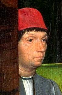 Autoportrait, sur le « retable de John Donne de Kidwelly » (vers 1480) National Gallery, Londres
