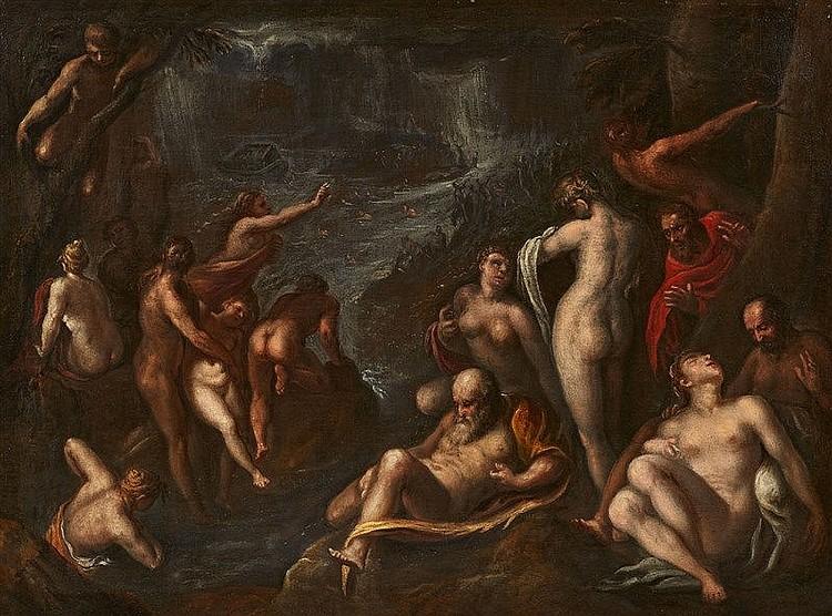 Utrechter Meister - Die Sintflut, Öl/Lwd., 17. Jahrhundert