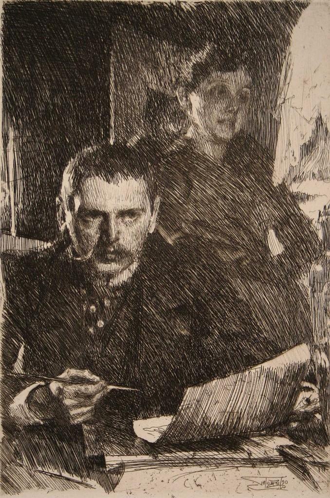 Zorn och hans hustru, 1890. Bild via Wiki Commons.