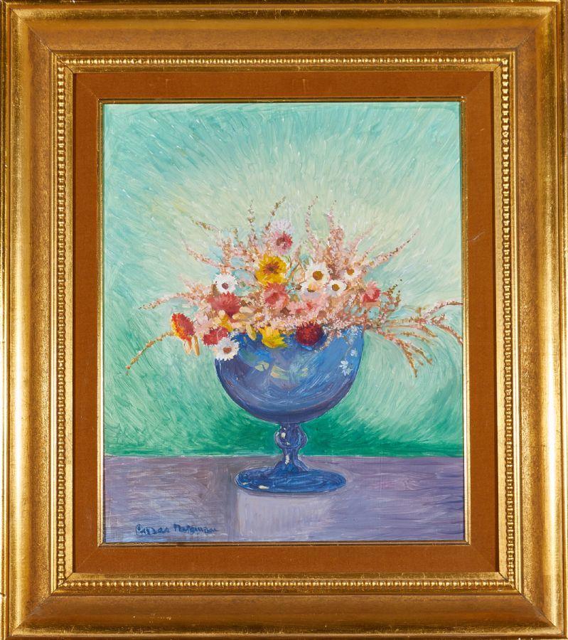 Einar Nerman (1888-1983), oljemålning, blommor i vas, signerad, pannå, 45x37. Utropspris: 3 000 SEK. Metropol.