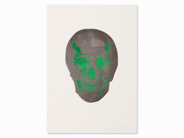 Damien Hirst, The Dead/Gunmetal Lime Green Skull, 2009 Auctionata