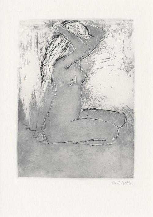 EMIL NOLDE (1867-1956) - Kniendes Mädchen, Kaltnadel mit Aquatinta auf festem Velin, 30,4 x 22,3 cm (63 x 47,5 cm), signiert, 1907 Schätzpreis: 28.000 EUR