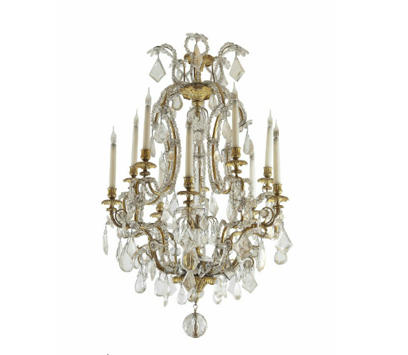 A PAIR OF ORMOLU, ROCK-CRYSTAL AND CRYSTAL TEN-LIGHT CHANDELIERS. Low estimate: 31 400 USD. Christie's