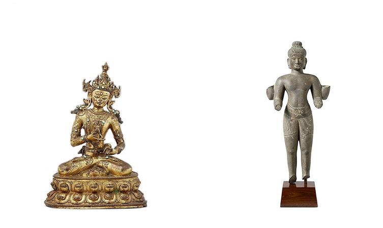 Links: Vajrasattva aus feuervergoldeter Bronze, Tibet 17. Jh. Rechts: Vierarmiger Vishnu, Sandstein, Kambodscha, Baphuon-Stil, 2. Hälfte 11. Jh.