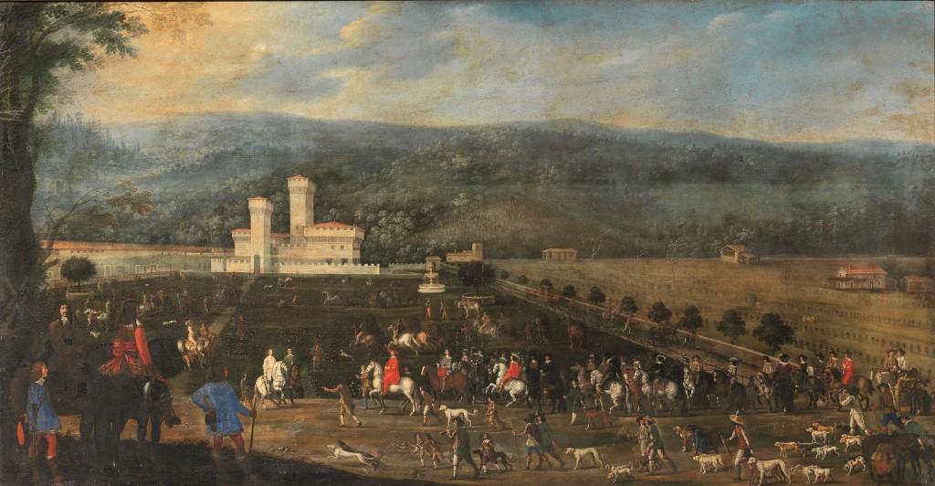 Florentinische Schule - LA caccia del cardinale Giovan Carlo de' Medici a Cafaggiolo, Öl/Lwd., 164,5 x 313,5 cm, 1641-44 Schätzpreis: 60.000-80.000 EUR
