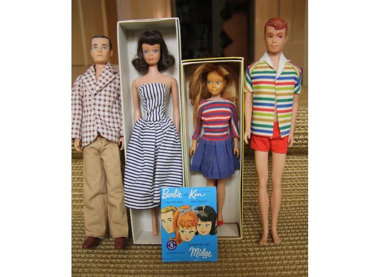 4 muñecas vintage BARBIE de Mattel (1962)