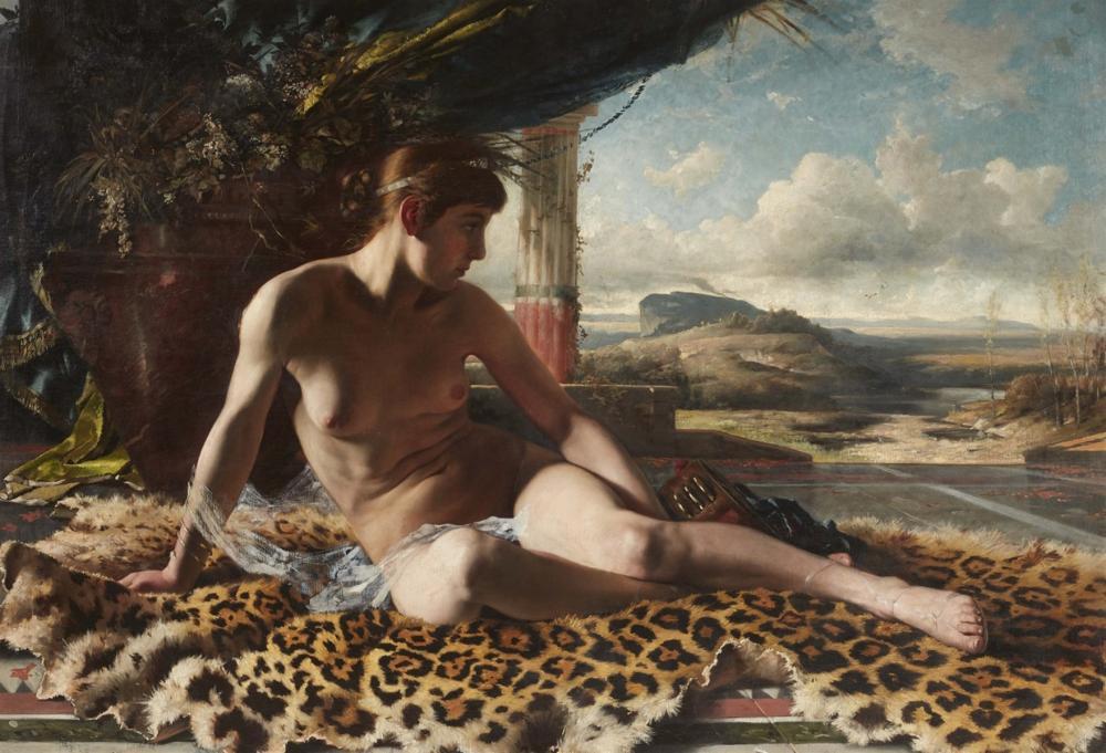Künstler des 19. Jahrhunderts, Odaliske auf Leopardenfell vor weiter Landschaft, Öl/Lwd., undeutlich signiert | Foto: Lempertz