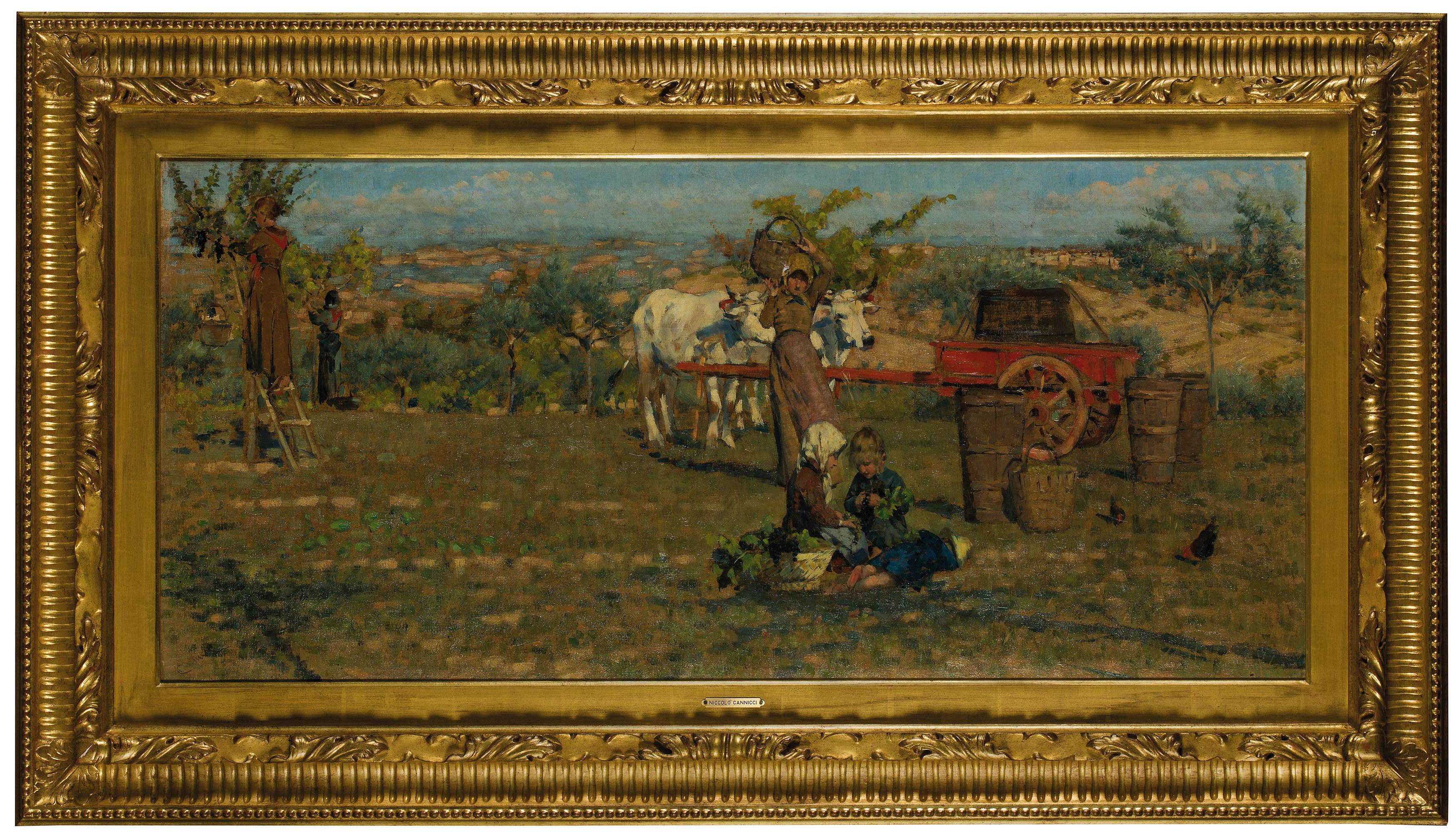 NICCOLO' CANNICI (1846 Florenz 1906) - Nei campi, Öl/Lwd.