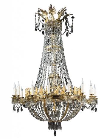 Important lustre à seize lumières en bronze finement ciselé et doré et cristal attribué à la Manufacture de Montcenis Paris, époque Empire, vers 1805-1810 La Pendulerie