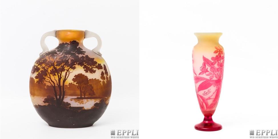 Links: ÉMILE GALLÉ - Doppelhenkelvase aus überfangenem Glas, um 1900 | Rechts: ÉMILE GALLÉ - Kleine Vase aus überfangenem Glas, um 1920