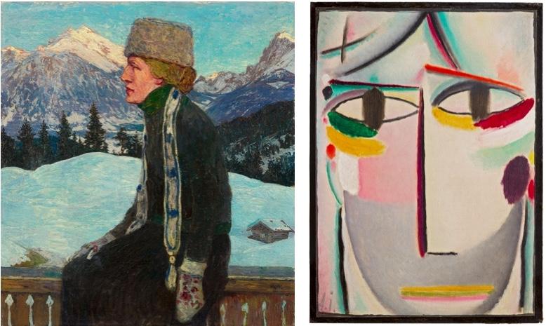 Links: HEINRICH VOGELER (1872 Bremen - 1942 Kasachstan) - Portrait Martha Vogeler, Öl/Lwd., monogrammiert, um 1907 Rechts: ALEXEJ VON JAWLENSKY (1864 Torschok bei Twer - 1941 Wiesbaden) - Heilandsgesicht, Öl/festes Papier, monogrammiert, um 1919