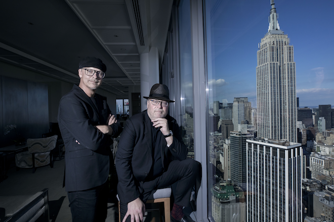 Brothers Broman look over their new workplace in New York