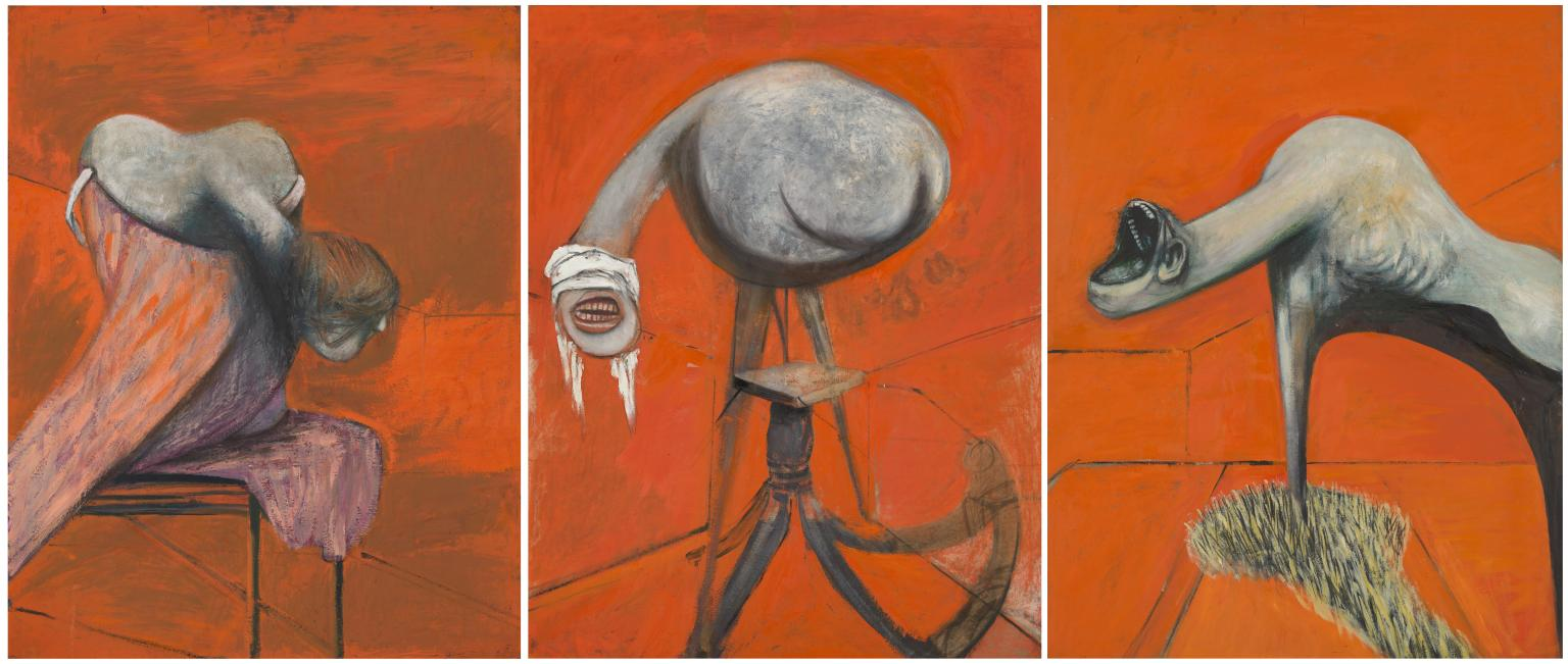 Francis Bacon, 'Three Studies for Figures at the Base of a Crucifixion', 1944. Photo: Tate
