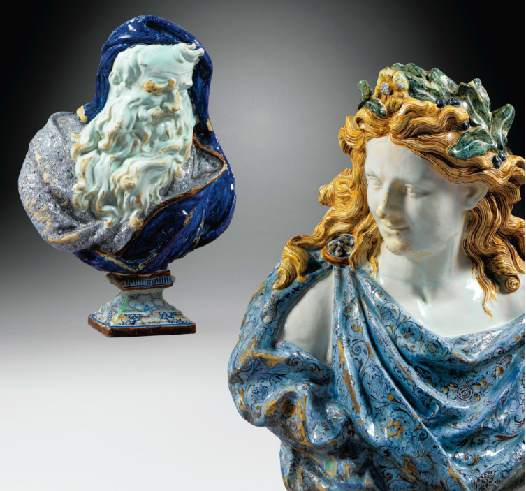 Two rare busts from the Seasons series, representing Apollo and the Winter, in faience of Rouen from the 18th century
