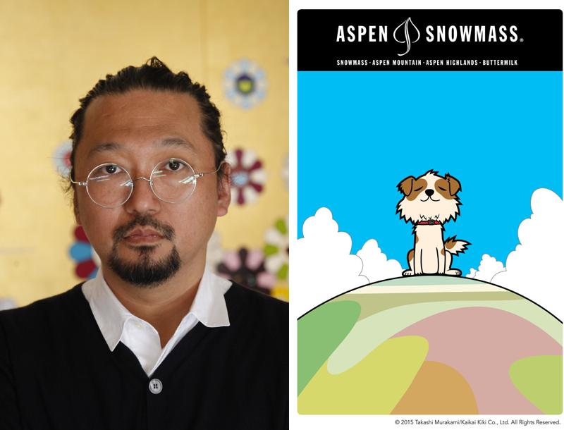 Takashi Murakami och hans designade skidkort till Aspen. Copyright 2015 Takashi Murakami/Kaikai Kiki Co., Ltd. All Rights Reserved.