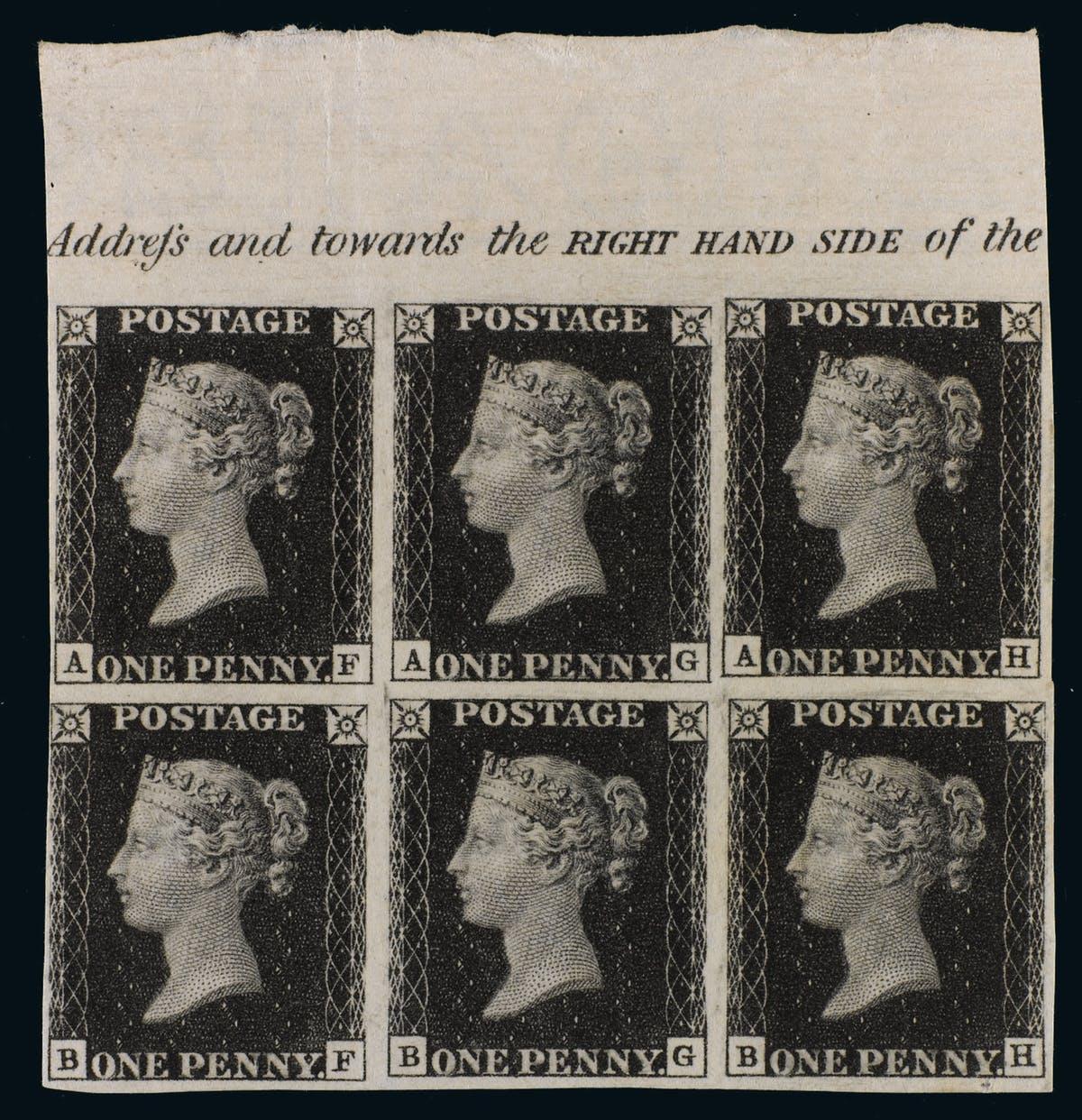 Ein Block mit 5 Penny Black-Marken der Plate 7 von 1840 wurde 2011 bei Sotheby's für 210.000 EUR versteigert | Foto: Sotheby's