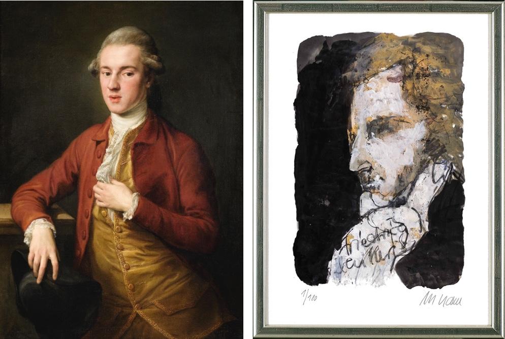 Links: POMPEO BATONI - Portrait of a Gentleman, 1779 Sotheby's Rechts: ARMIN MUELLER-STAHL - Portrait Friedrich Schiller, 2014 ARTEVIVA