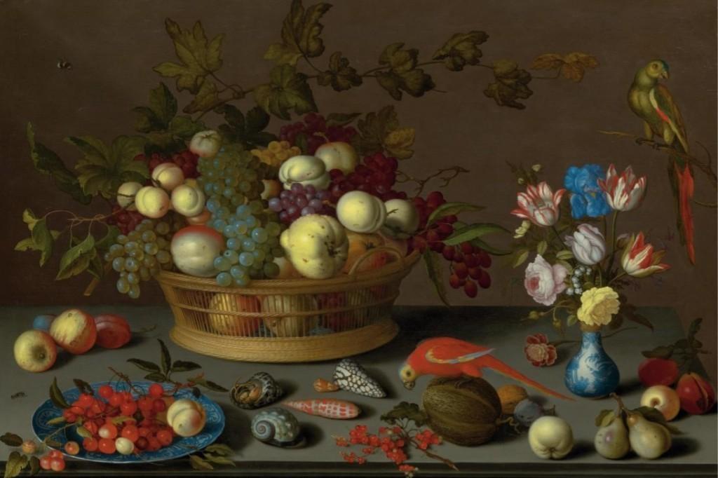 BALTHASAR VAN DER AST (Middelburg to 1593-1657 Delft) - Large Still Life with Fruit on a Delftware plates