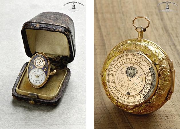 Links: BREGUET À PARIS - Ringuhr mit sichtbarer Unruh, Emaille, um 1820 Rechts: JOSEPH ANTONI BERINGER - Astronomische Spindeltaschenuhr, GG, Salzburg ca. 1750