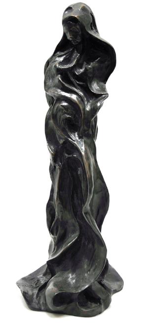 Madone à l'Enfant – Importante sculpture en bronze à patine foncée Ecole de l'Est, 19-20e Accademia Fine Art