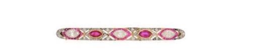 Broche diamants et rubis birman, milieu du XXe siècle