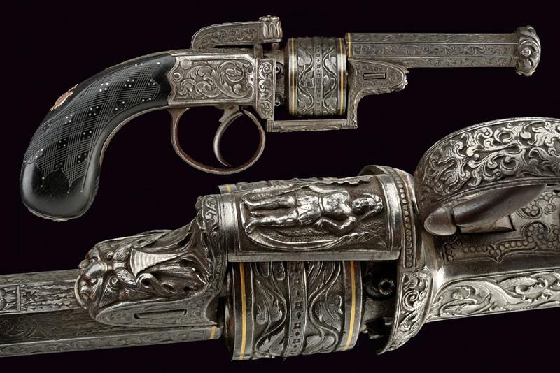 Engraving percussions revolver, W. ELLIS London, mid 19th century