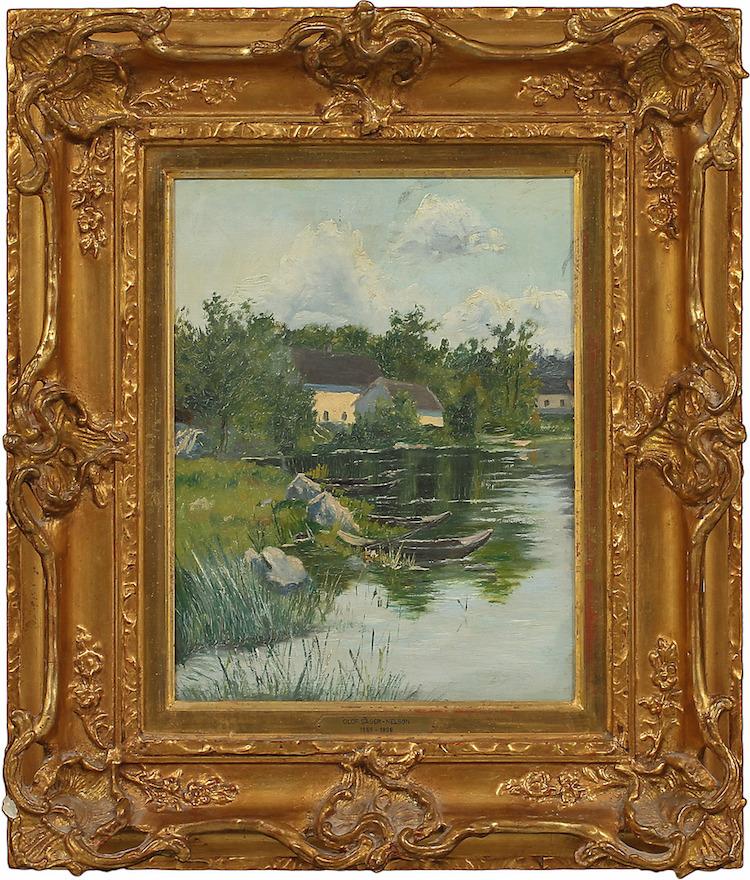 Olof Sager-Nelson (1868-1896). Ekor i insjölandskap. Olja på duk. Utropspris: 50.000 SEK. Göteborgs Auktionsverk