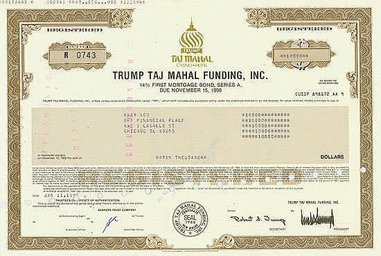 Trump Taj Mahal Funding, Inc., 11.01.1990, 14 % First Mortgage Bond über US-$ 10.000 Schätzpreis: 240-400 EUR